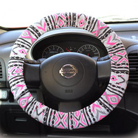 Steering-wheel-cover-cheetah-wheel-car-accessories-Aztec-Neon-Pink-Steering-Wheel-Cover