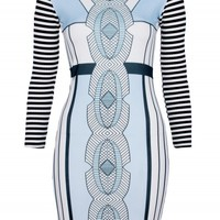 White/Blue Mirror Print Waffle Texture Dress | Dresses | Desire