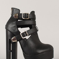 Dulce-27 Buckle Cut Out Platform Bootie