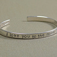 I Love you to the moon and back thick sterling silver bracelet