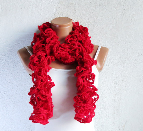 scarf in red scarves knit scarf red gift for her holiday scarf sale Knit Scarves For Teenagers