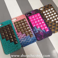 Studded iPhone 5 / 5s Case - Assorted Designs: Teal Croc, Chevron Ombre, Galaxy Nebula, Gold Glitter - Choose Stud Color