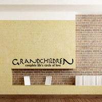 Grandchildren Complete Life's Circle of Love Vinyl Wall Decal