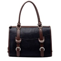 Classy Elegant Mixing Color Strap Tote Handbag Shoulder Bag