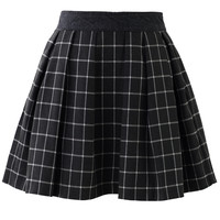 Grey Tartan Pleated Skirt
