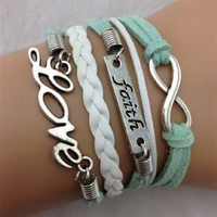 Healthtop Handmade Retro Design Faith Infinity Love Suede White Leather Rope Wrap Bracelet Fashion Jewelry