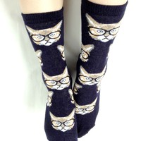 Nerd Cat Socks - Midnight Blue