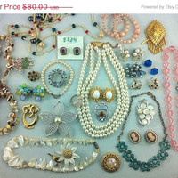50% Off - PRETTY Jewelry Lot, Signed, Brooches, Necklaces, Bracelets, Earrings. Resell, Destash, Wearable.