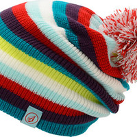 Volcom Girls Deluxe White Stripe Pom Beanie