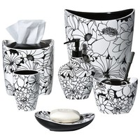 Floral Bath Coordinates Collection - Black/White
