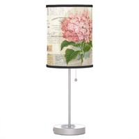 Vintage Pink Hydrangea French Ephemera Lamp