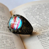 Colorful Antiqued Brass Glass Dome Round Ring, Women Accessories, Resin Ring