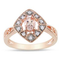 Oval Morganite and Diamond Accent Kite Ring in Rose Rhodium Plated Sterling Silver