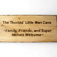 Rustic home decor. Gifts for men and boys. Little Man Cave sign.