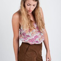 Brown High Waisted Suede Shorts