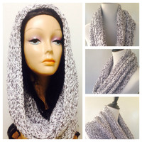 Brown and White Mixed Yarned Scarf,Hand Knitted Scarf Cowl Neck Warmer,Wrap Scarf Hooded Scarf Loop Scarf Cowl Neck Warmer