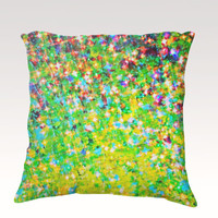 HOLIDAY CHEER Fine Art Velveteen Throw Pillow Cover 18 x 18 Abstract Green Turquoise Cerulean Lime Citrine Modern Xmas Home Decor Painting