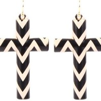 Black and White Striped Cross Earrings