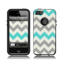 iPhone 5 / 5S Case Black Case Chevron Grey Teal (Generic for Otterbox Commuter)