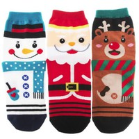 Cute Christmas Character Ankle High Socks 3 Pairs Set Santa Rudolph Snowman