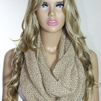 Hand Knitted Camel Sparkly Infinity Scarf Christmas Gift For Her Neck Warmer - ESCHERPE