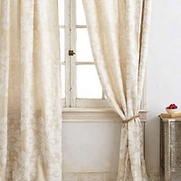 Coqo Floral Curtain by Anthropologie Ivory