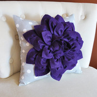 Purple Dahlia Flower on Gray Polka Dot Pillow Accent Pillow Throw Pillow Toss Pillow Decorative Pillow