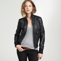 Women&#x27;s outerwear - leather - Belstaff?- new broad bomber jacket - J.Crew