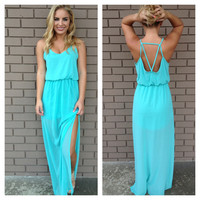 Neon Mint Maxi Kayla Dress