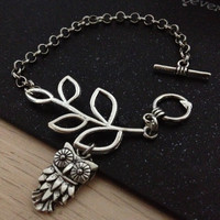 silvery branch metal chain bracelet with cute owl women jewelry bracelet bangle friendship gift T099