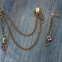 steampunk ear cuff set copper mixed metals keys lock charms in gypsy boho hippie gothic and fantasy style