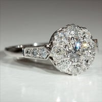 Vintage 18k and Platinum Art Deco Diamond Engagement Ring c.1930