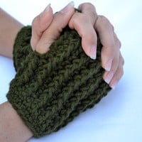 Army green short ribbed hand warmers, fingerless gloves, mittens