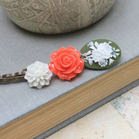 Bobby Pins Green and White Cameo Hair Accessories Flower Bobby Pins Stocking Stuffers Tangerine Orange Rose Hair Clips Barrettes