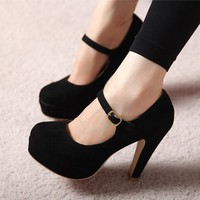 Cute Nice HIGH-HEELED SHOES FABRIC SURFACE SHOES