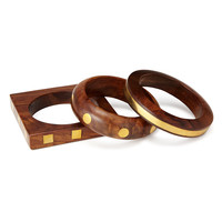 Wood And Brass Bangles - Set Of 3