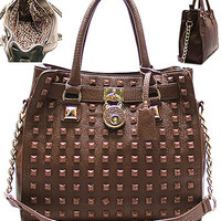 Studded Tote, Brown