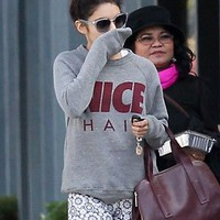 Alex & Chloe Nice Hair Sweatshirt in Grey as seen on Vanessa Hudgens