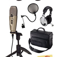 CAD U37 USB Studio Recording Microphone Bundle with Padded Mic Bag, Headphones, Velcro Cable Ties, Pop Filter, and Polishing Cloth