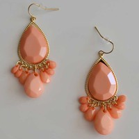 Peach Beaded Teardrop Chandelier Earrings