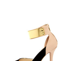 Anne Michelle Momentum 41 Black and Nude D'orsay Heels