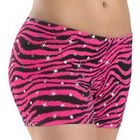 Sequined Zebra Print Dance Shorts; Balera