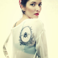Tattoo Pin up Style Bee and Honey Print Oversize White Chiffon Transparent Top Free Shipping :)