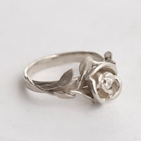 Rose Engagement Ring No.1 - 14K Gold White and Diamond engagement ring, engagement, leaf ring, flower ring, antique, art nouveau, vintage