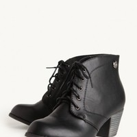 Fallen Leaves Lace-Up Booties In Black