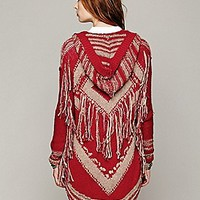 Geo Fringe Hooded Cardigan
