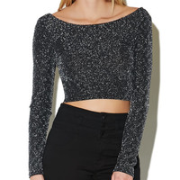 Lurex Diamond Crop Blouse | Arden B.
