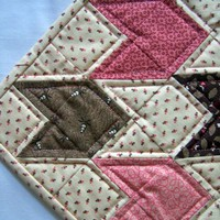 Tulip Block Table Runner in Cream, Pinks, and Browns w/ Outlining