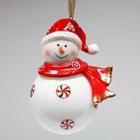 Snowman Wearing a Santa Hat Christmas Tree Ornaments, Set of 4 - Seasonal & Holiday Decorations