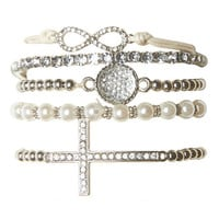 Rhinestone Pearl Stretch Bracelets | Wet Seal